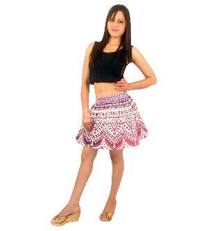 Red Mandala Printed Short Skirt