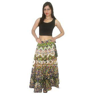 400b3f8798 Cotton Handmade Green Elephant Mandala Print Floor Length Long Skirts