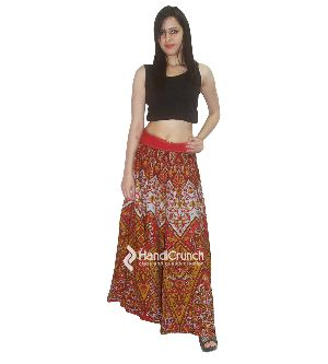 Red Color Long Rapron Skirt