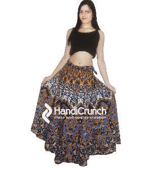 Cotton Handmade Multi Star Mandala Print Floor Length Long Skirts