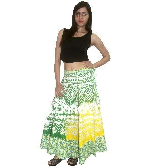 Green Yellow Ombre Printed Rapron Skirt