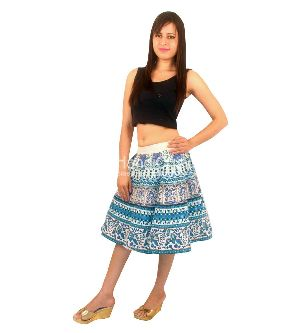 Sky Parrot Print Mandala Wrap Around A-line Elastic Short Skirts, Midi For Girls
