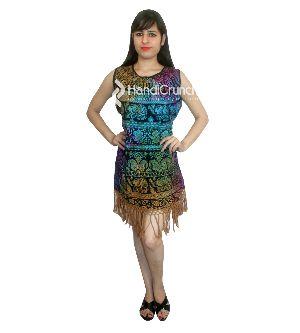Tie Dye Elephant Print Colorful Short Dress