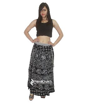 Girls Black Color Stylish Rapron Skirt