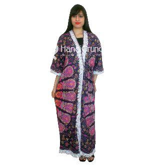 Women's Bohemian Peacock Feather Mandala Kimono Coat