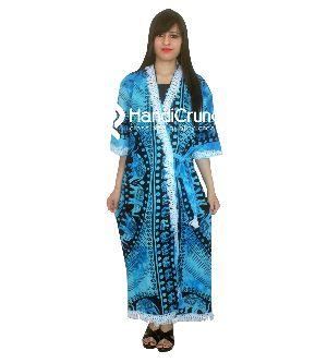 Womens Violet Yin Yang Printed Long Gown Bath Robe