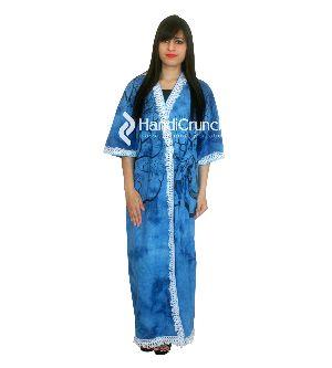 Womens Cotton Tree Printed Bath Robe Night Dress