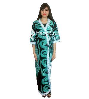 Womens Green Skull Printed Mandala Kimono Robe