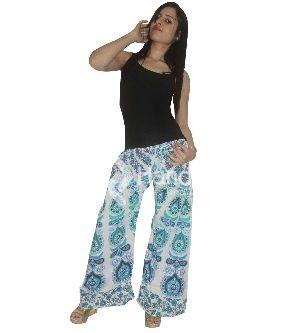 White And Light Blue Color Mandala Printed Summer Palazzo Pants