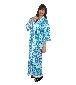 Womens Blue Ombre Flower Printed Kimono Robe