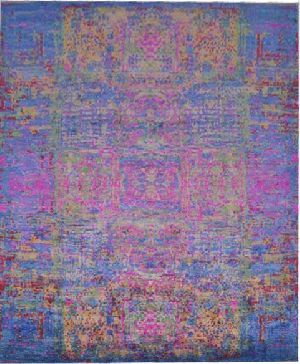 Blue Pink Affordable Handmade Saree Silk Rugs