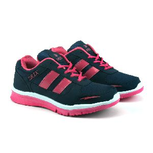 Ladies Navy Blue & Pink Shoes