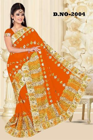 Aarya Ethnics Lace border Embroidered Georgette Net Fabric Saree_DN-2004-A
