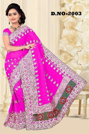 Aarya Ethnics Lace border Embroidered Georgette Net Fabric Saree_DN-2003-D