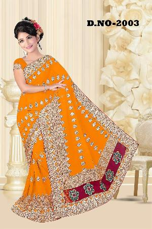 Aarya Ethnics Lace border Embroidered Georgette Net Fabric Saree_DN-2003-C