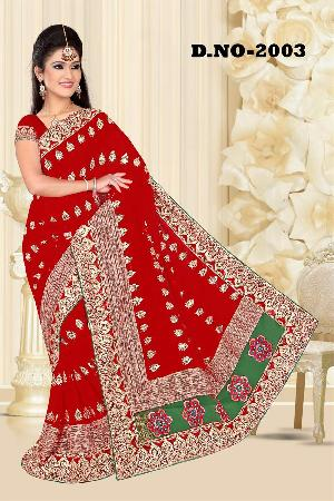Aarya Ethnics Lace border Embroidered Georgette Net Fabric Saree_DN-2003-A