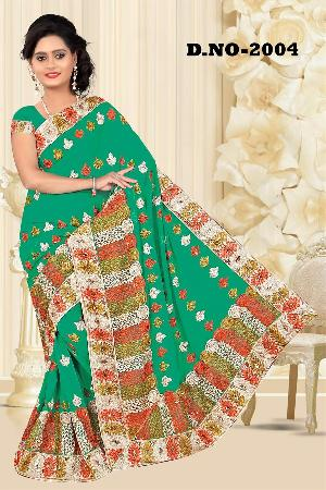 Aarya Ethnics Lace border Embroidered Georgette Net Fabric Saree_DN-2004-D