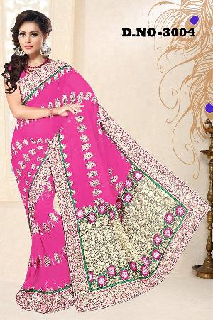 Aarya Ethnics Embroidered Georgette Fabric Saree_dn-3004-c