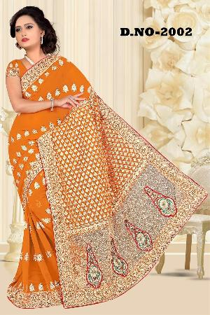 Aarya Ethnics Lace border Embroidered Georgette Net Fabric Saree_DN-2002-A