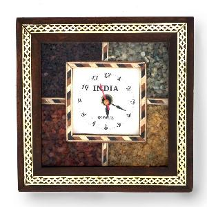 Little India Antique Handcrafted Gemstone Wooden Wall Clock