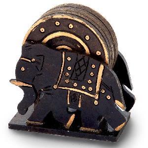 Little India Elephant Design Wooden Tea Coaster Handicraft