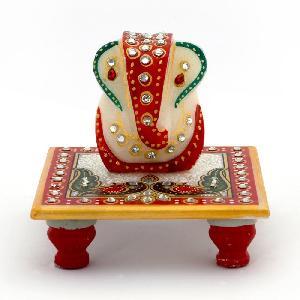 Little India Meenakari Work Lord Ganesha Marble Pooja Chowki