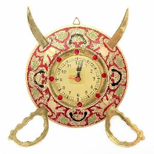 Little India Rajasthani Real Brass Sword Armour Wall Clock