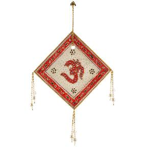 Little India Rajasthani Square Designer Om Marble Wall Hanging