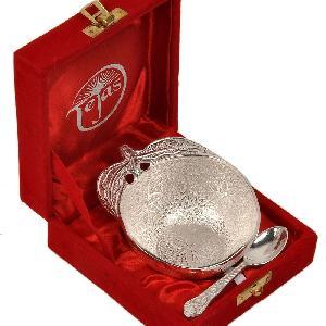 Little India Silver Polished Apple Shape Brass Bowl N Spoon