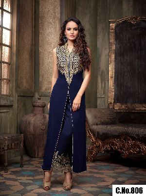 Blue Georgette Embroidery Straight Cut Salwar Suit