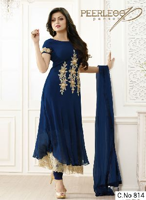 Blue Georgette Embroidery Anarkali Salwar Suit
