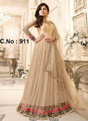 Designer Cream Embroidered Anarkali Suit