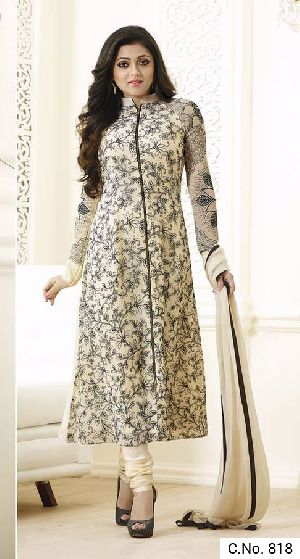 Cream Georgette Embroidery Salwar Suit