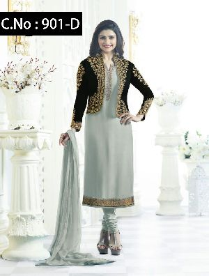 Designer Gray Straight Cut Salwar Suit