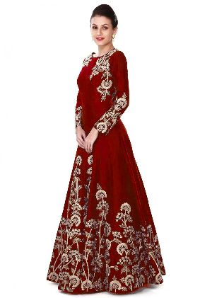 Maroon Wedding Wear Gown