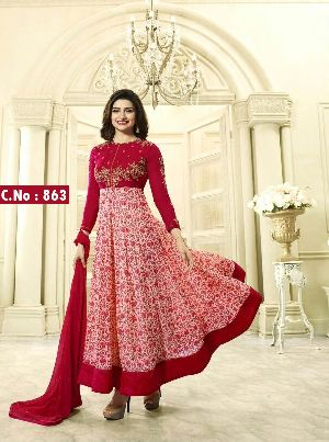Peach Embroidered Anarkali Salwar Suit