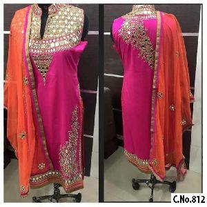 Designer Pink Georgette Embroidery Mirror Handwork Straight Cut Salwar Suit