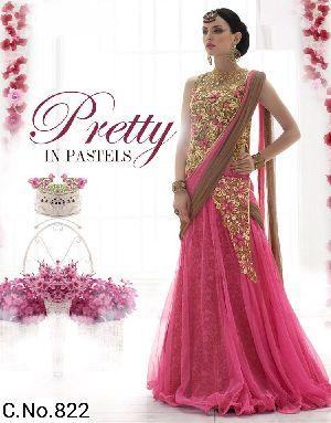 Pink Net Embroidery Lehenga Choli