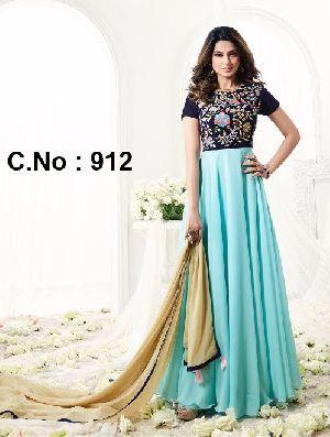 Designer Sky Embroidered Anarkali Salwar Suit