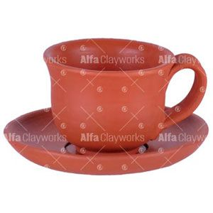 Terracotta Clay Cup and Saucer