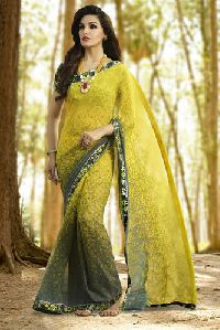 Shaily Dazzling Yellow Color Georgette Saree