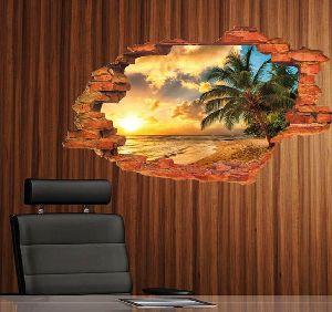 3D Broken Coconut Island Sunset Scenery Wall Art