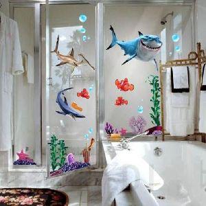 3D Shark Fish Seabed Wall  Art