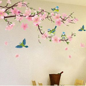 Romantic Peach Blossom And Swallow Wall Art Diy Stickers