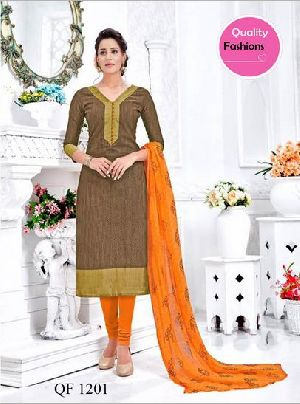 Unstitched Chanderi Banarasi Churidar Suit