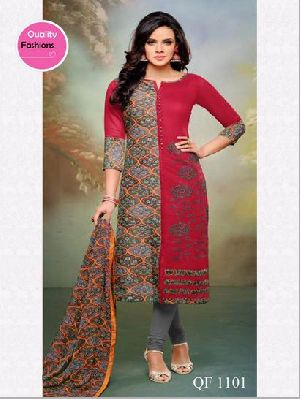 Unstitched Embroidered Chanderi Cotton Churidar Suit