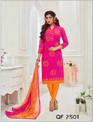 Unstitched Lace Border Cotton Churidar Suit