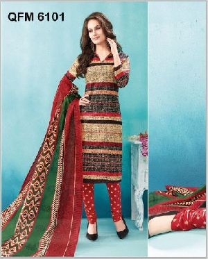 Unstitched Rainbow Cotton Churidar Suit