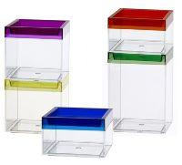 Stackable Container Boxes With Colored Lids