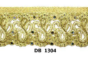 Gold Zari Embroidery cording dupion net tissue fabric lace DB 1304